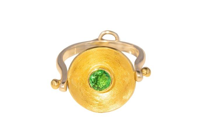 Yellow Gold Emerald  Calabash Ring & Pendant