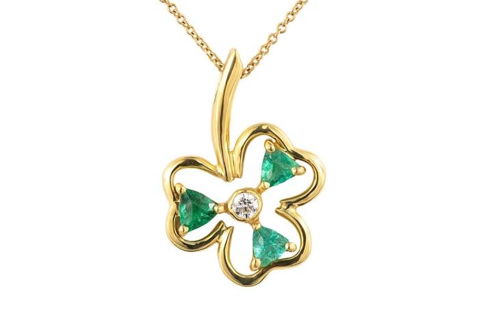 Yellow Gold Emerald  Clover Pendant