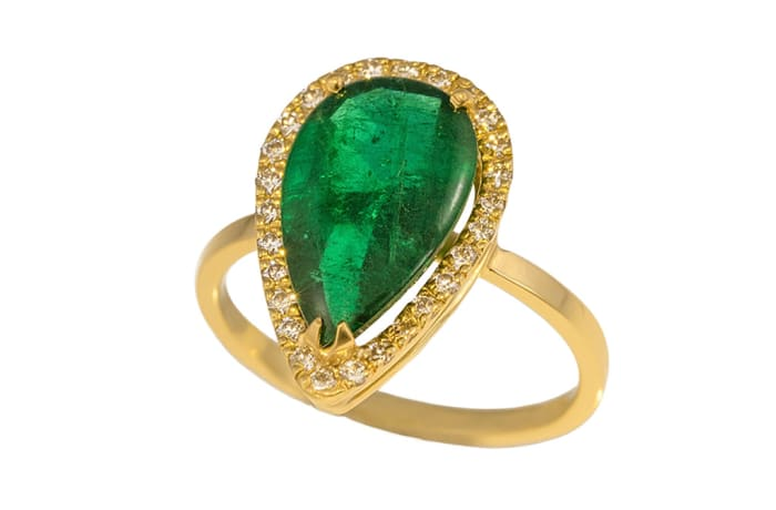 Yellow Gold Emerald  Contemporary Tear Drop Ring