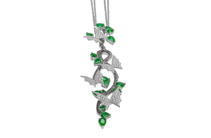 White Gold  Emerald & Diamond Bats  Necklace