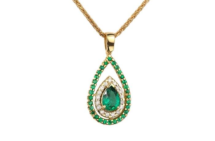 Yellow Gold Emerald & Diamonds  Pave Pendant