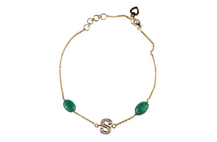 Yellow Gold  Emerald  Letter Bracelet