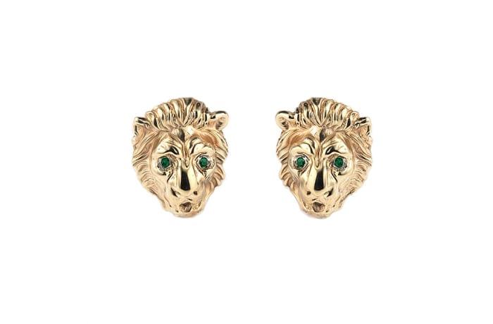 Lion Face  Emerald T-Bar Cufflinks