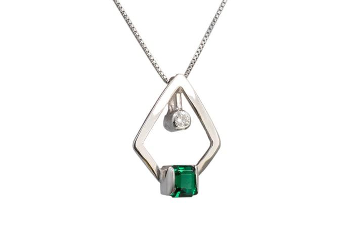Square  Emerald  White Gold Pendant