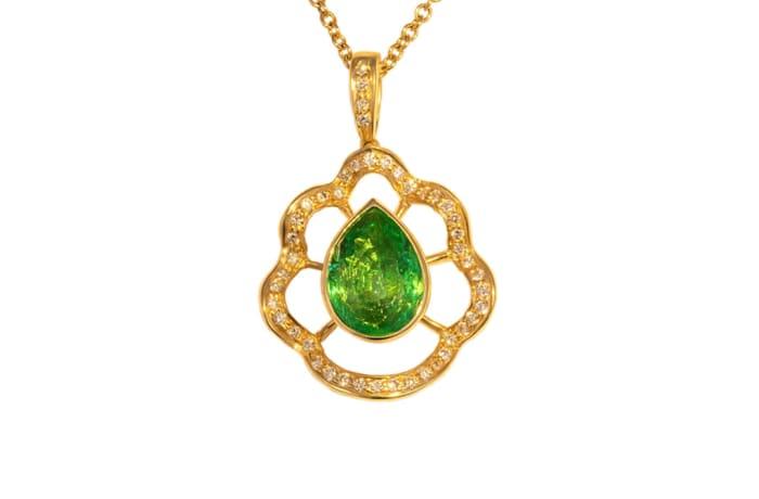 Yellow Gold Emerald & Diamond Bezel Pendant