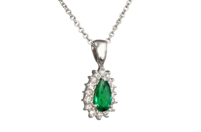 White Gold Emerald & Diamonds  Tear Drop Pave Pendant