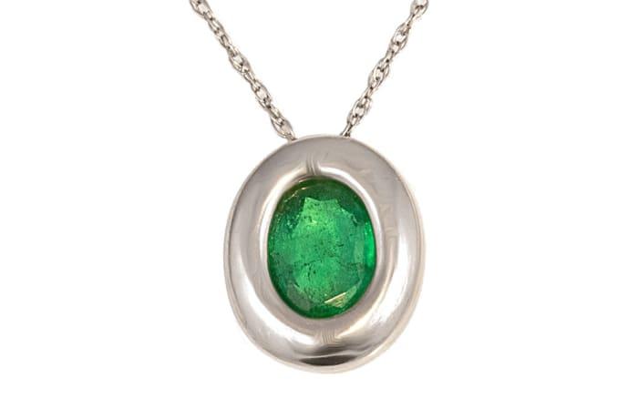 White Gold  Emerald  Oval Pendant