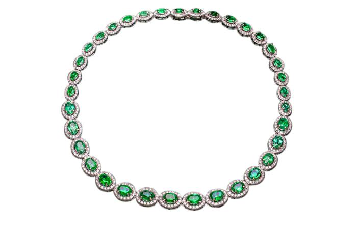 White Gold  Emerald & Diamond Eternity Necklace