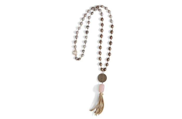 Ethiopian prayer bead, Zulu seed & Tassel Neck-piece - Rose Quartz