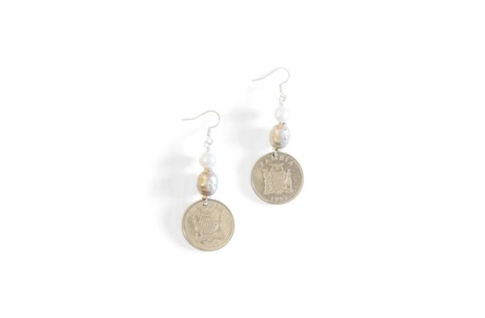 Ethiopian prayer bead & coin earrings