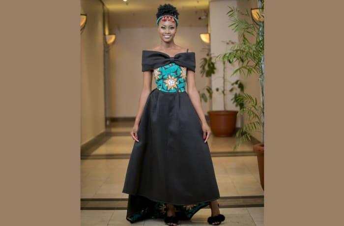 Black maxi dress chitenge top with black shoulder bow