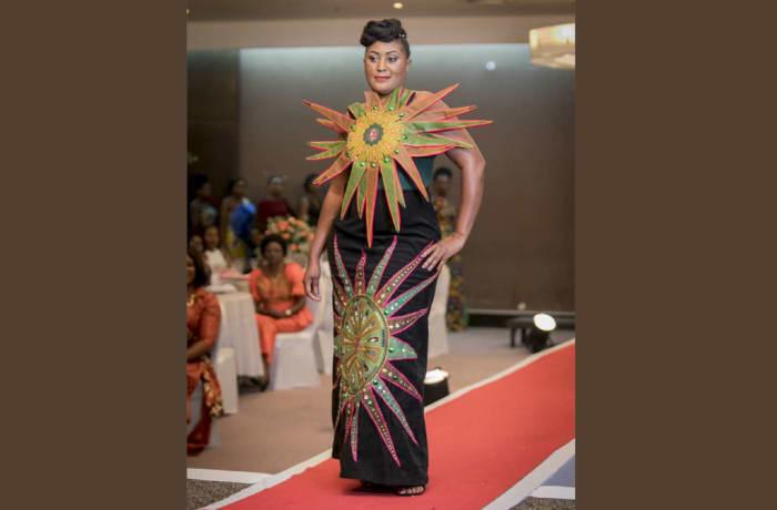 Black maxi dress with star chitenge and star top fashion statement