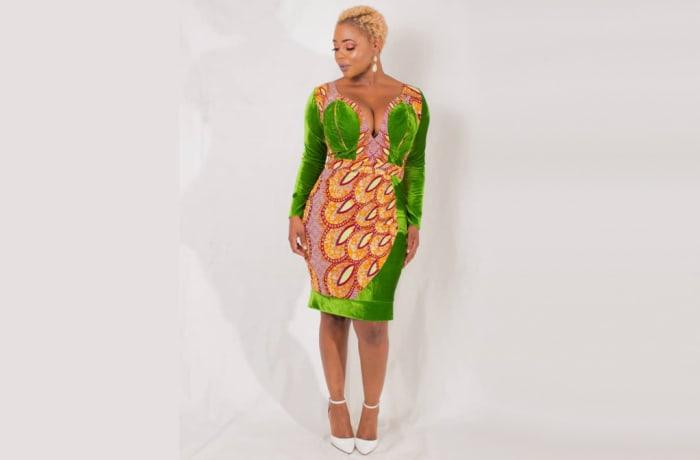 Sheath dress overlayed with chitenge