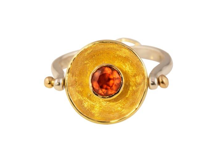 Yellow Gold Garnet  Calabash Ring Pendant