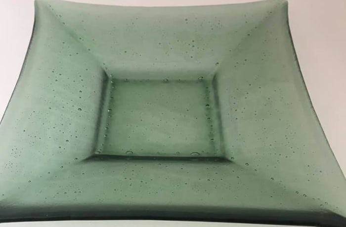 Glass Square light green serving nut tray