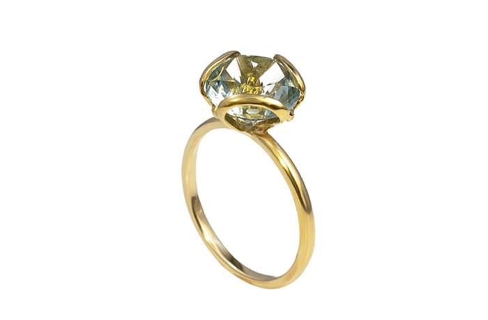 Yellow Gold Green Blue Tourmaline  Petal Ring