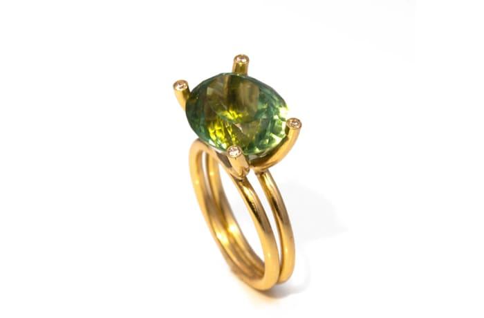 Yellow Gold Green Tourmaline  Boat Ring - $3,487