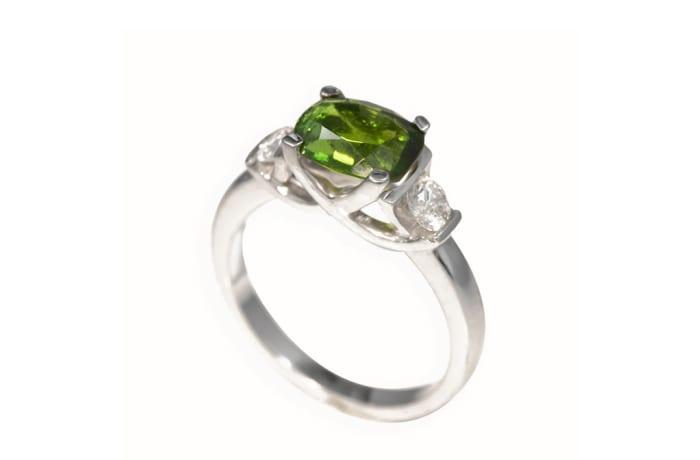 White Gold Tourmaline & Diamonds Green Ring