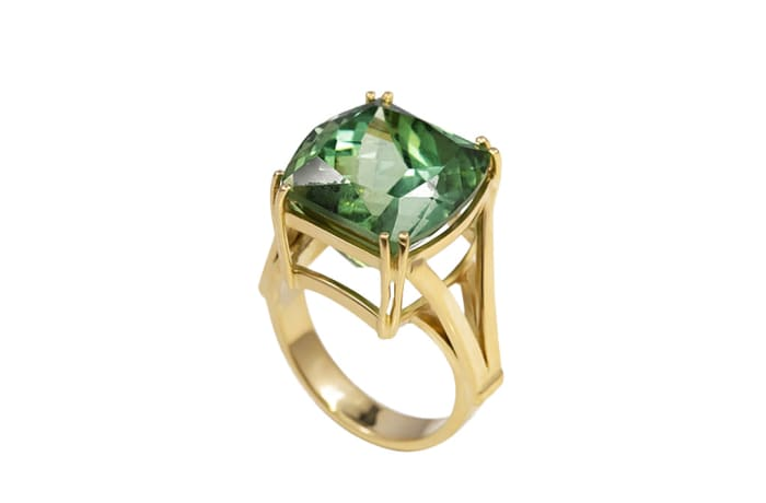 Yellow Gold Green Tourmaline  Double Claw