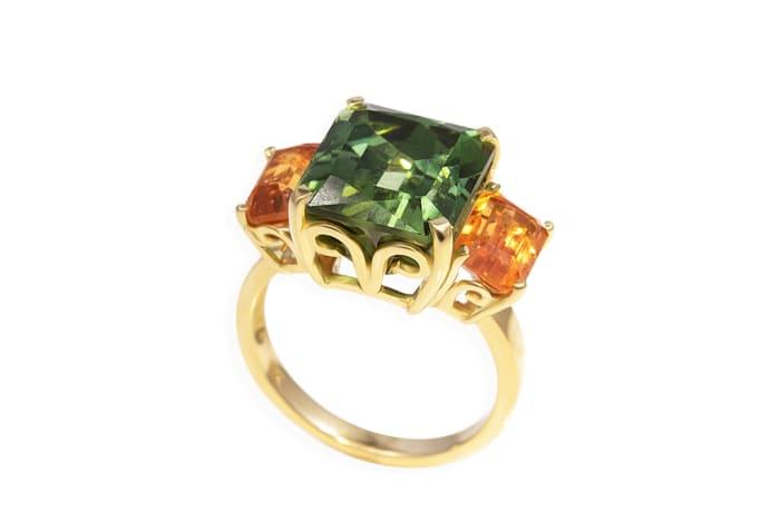 Yellow Gold Tourmaline & Garnet Green Trilogy Ring