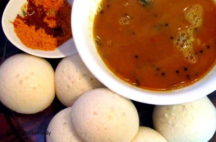 the snacks point -   Idli Sambar