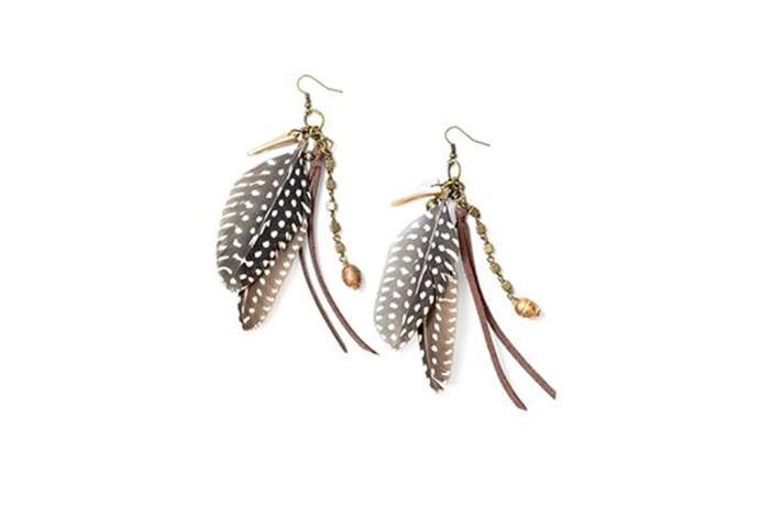 Guinea fowl feather charm earrings