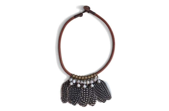 Guinea fowl feather choker