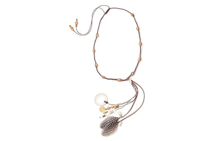 Guinea fowl feather head-dress & necklace in cream