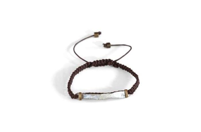 Hammered snare & cord bracelet