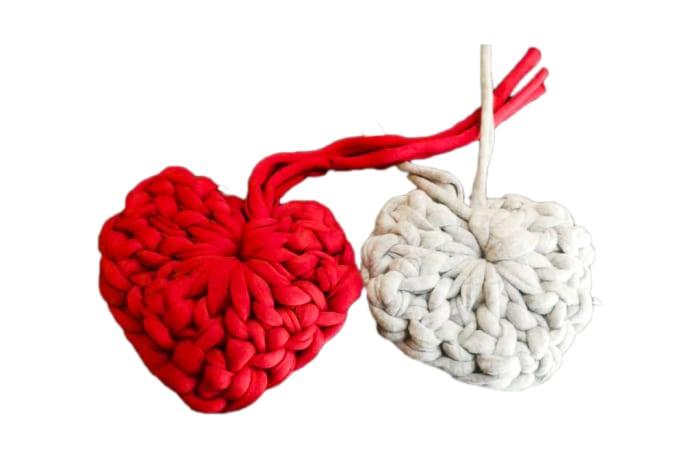 Handmade Yarn Hearts