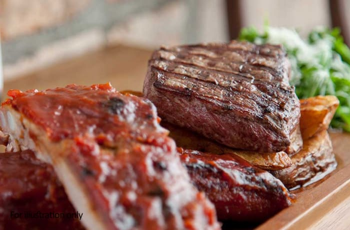 Harry's Grill - Surf & Turf - 1/2 a Rack of Pork Ribs & Rump Steak