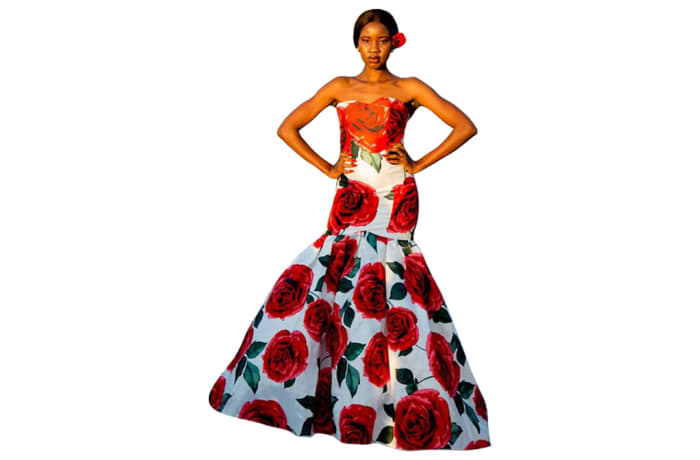 Haute couture - Afrocentric orange top with floral roses