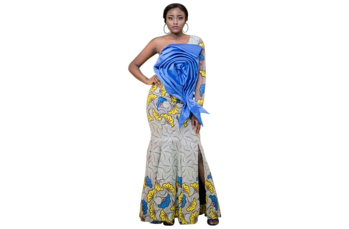 Haute couture - Afrocentric Chitenge outfit with large blue rose stitch