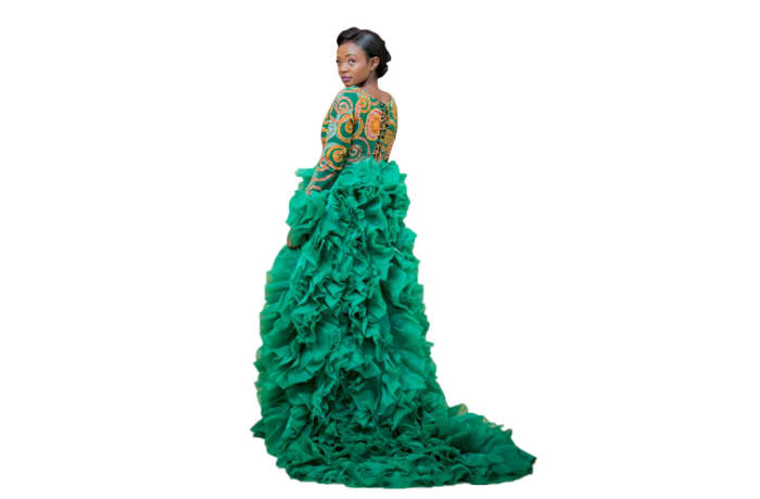 Haute couture - Afrocentric Emerald outfit with chiffon stitch