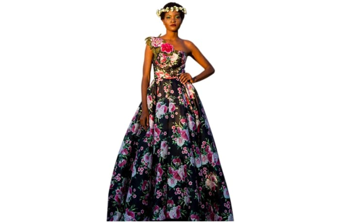 Haute couture - Full length black dress with pink and white floral