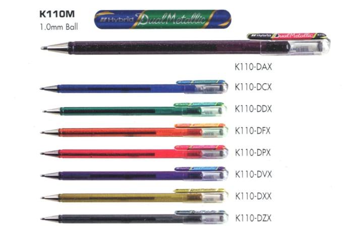 Hybrid Gel Ink Rollers - K110 - Hybrid Dual Metallic Liquid Gel Roller Pen