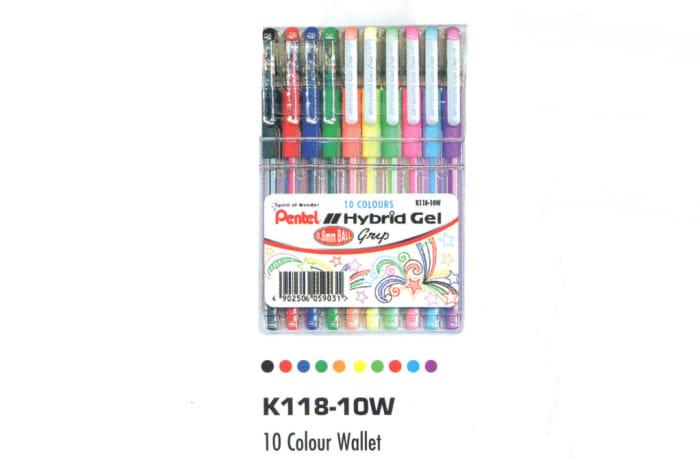 Hybrid Gel Ink Rollers - K118-10W Hybrid Gel Grip - 10 Colour Wallet