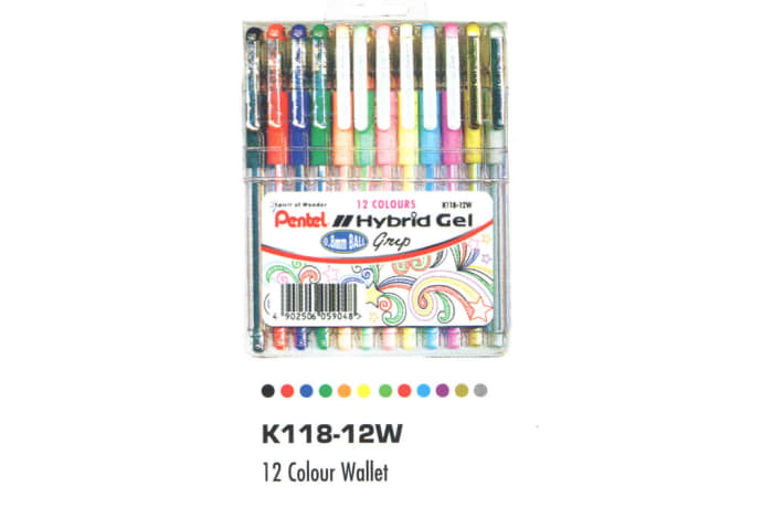 Hybrid Gel Ink Rollers - K118-12W Hybrid Gel Grip - 12 Colour Wallet