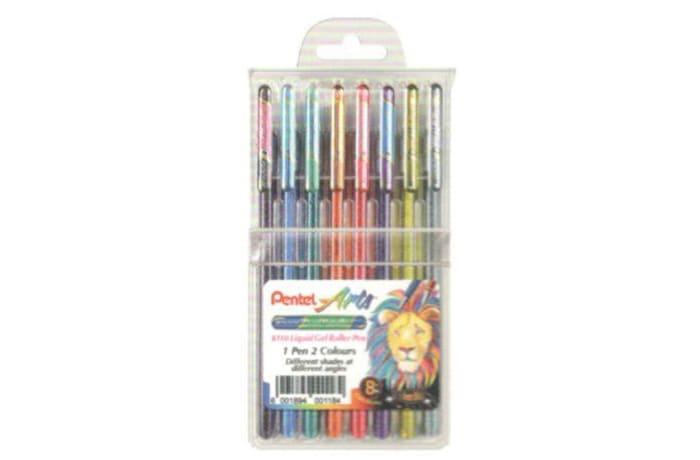 Pentel Arts - Hybrid Dual Metallic Liquid Gel Roller Pen - Wallet of 8