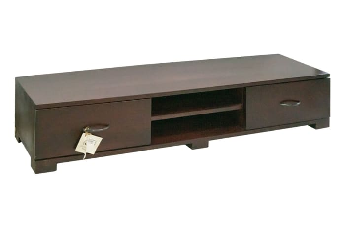 Wood Cabinets - Low Two Drawer Cupboard TV Stand Cabinet
