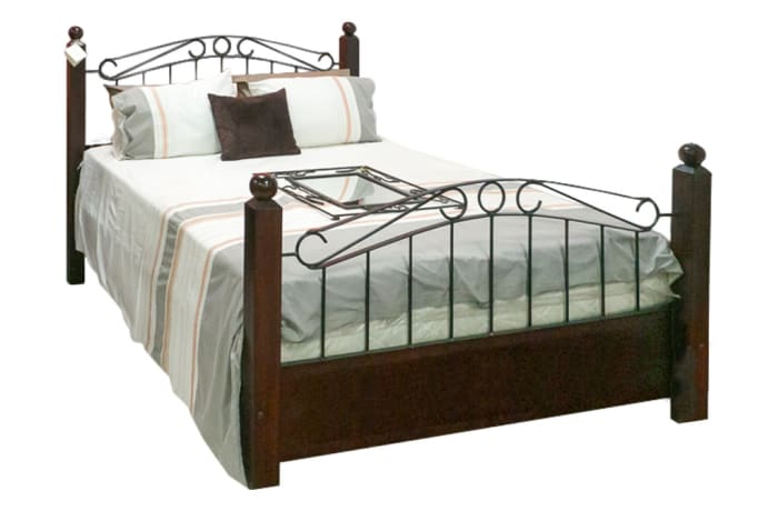 Queen Sized solid teak and Steel bed