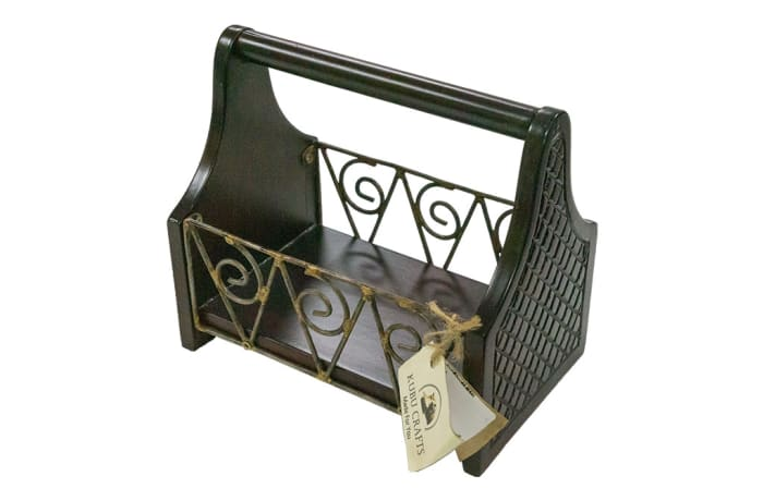 Storage Holders & Racks - Magazine Rack with Wrought Iron sides