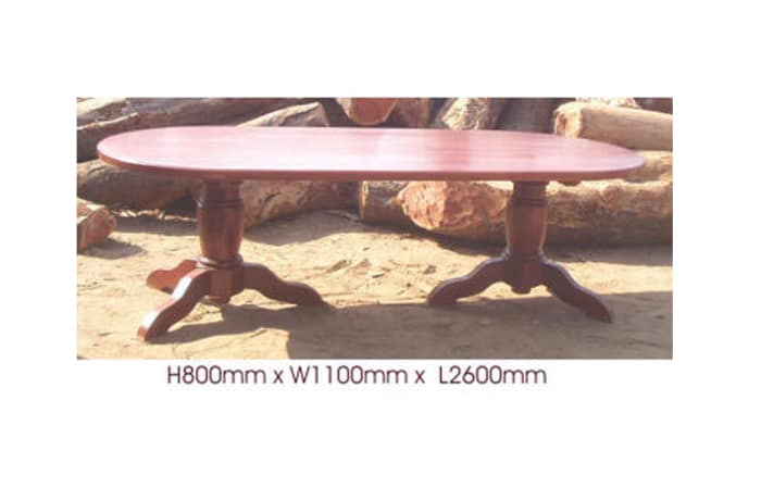 Dining table 10-seater oval solid legs