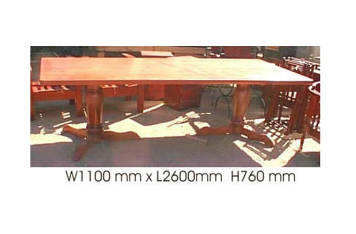 Dining table 10-seater with 2 turned legs teak
