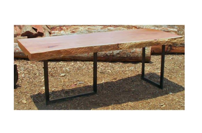 Long narrow log slab ted steel frame coffee table