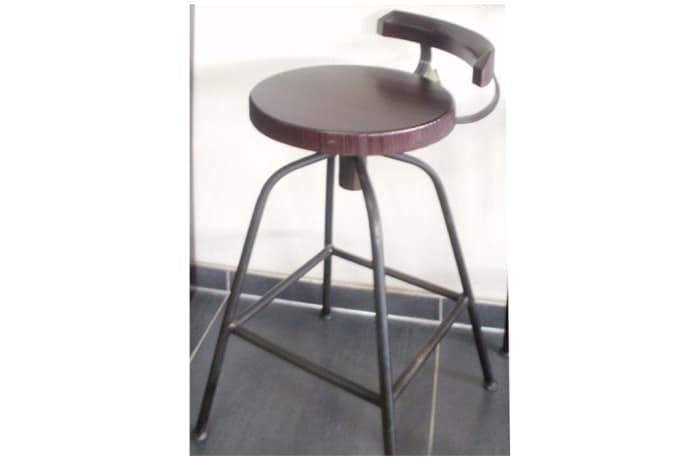 Teak swivel bar stool