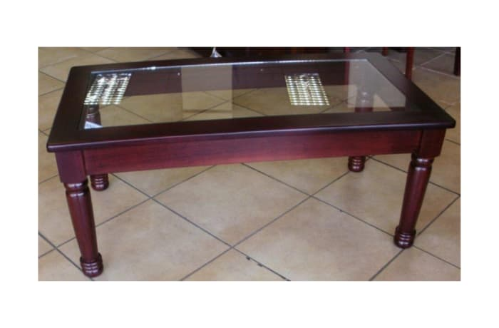 Turned Legs Glass Top coffee table