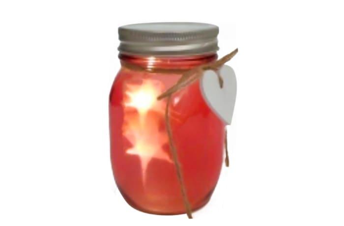 Led Light Red Glass Mason Jar Warm Atmosphere