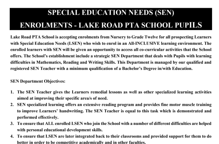 Enrollments now open - Learners with Special Education Needs image