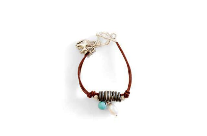 Leather & coiled snare bracelet